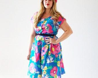Vtg Teal Flower Dress- sz. 14, Retro Fit & Flare, Sundress Scoop Neck Pinup Curvy
