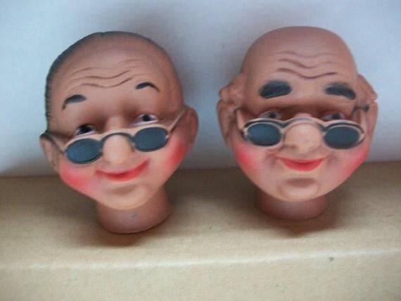Vintage Soft Plastic Vinyl Grandpa Amp Grandma Doll Head Couple