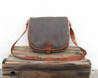 Hobo Saddle Bag by ESPRIT Distressed Chocolate Brown Coated Canvas and Leather Bag