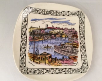 Vintage Royal Pottery Collectors Plate - San Francisco (White)