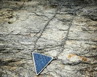Tribal denim triangle chain necklace