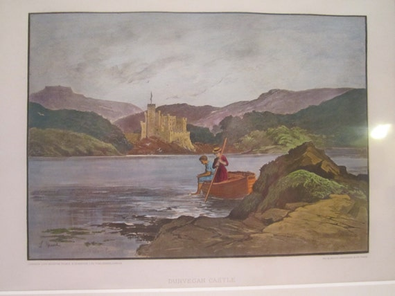 Dunvegan Castle - Antique - ORIGINAL Illustration of Dunvegan Castle in Scotland, Art by Lancelot Speed 1860-1931 - Museum Matted and COA