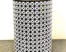 vintage metal wastebasket - 1950s-60s mid century black/white small trash can bin