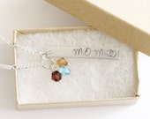 Mom Necklace, Personalized Jewelry, New Mom Necklace, Birthstone Acrylic Color, Mom Birthday Gift, Mom Children Necklace, Gift for Her