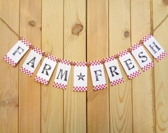 Farm Fresh Banner Farmhouse Kitchen Decor Bakers Rack Farmers Market Garland