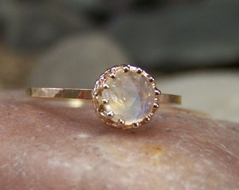 NEW DESIGN - Viviane II 14k- Rose Cut 6mm Rainbow Moonstone in 14K Open Back Crown Bezel and Hammered Band