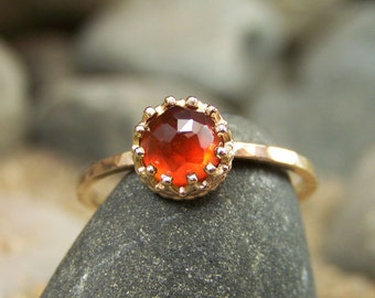 Rose Cut 6mm Hessonite Garnet Ring in 14k Gold with Crown Bezel and Hammered Band - NEW DESIGN - Ama-Terasu II