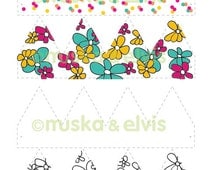 Printable Crowns / Dress Up - Floral, Confetti, Floral & Blank to colour in