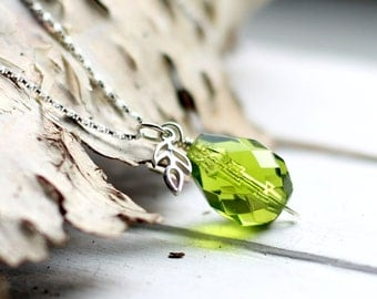 Tree Of Life Necklace Olive Green Swarovski Crystal Wire