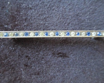 Art Deco Sterling Silver Bar Pin Brooch With Paste Stones