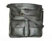 Metallic Dark Grey Leather Bag Messenger - Leather Cross-body Purse - Leather Handbag Iris