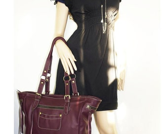 Genuine Leather tote bag leather handbag leather shopper tote Alissa in aubergine