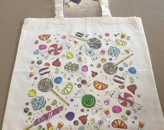 Illustration Candy Print Tote Bag