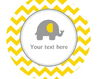 """Elephant Tags Baby Shower 3 Types of Tags ~ Instant Download Editable Tags Thank You Tags 2"""" Round Tags, Party Favors, Cupcake Topper BS526"""