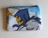 He-Man Zipper Pouch - Skeletor Zip Pouch - Small Zip Pouch Coin Purse Wallet - Upcycled made from vintage fabric