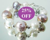 NOW 25% OFF Mauve Pink and White Bold Edison Pearl and Sterling Silver Bracelet