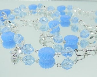 Opal Blue and Light Sapphire Vintage Reproduction Glass Bead Chain Style Necklace