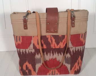 leather and canvas tote, khaki,red,ikat, fall colors, autumn tote, tote with outside pockets, classic style tote, diaper bag