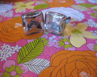 2 Silver Mercury Glass Knobs Modern Metallic Square Industrial Reflective Timeless Fashionable Hardware B-23