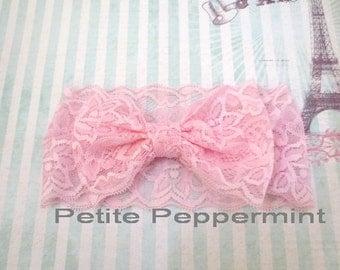 Pink baby headband, lace bow head wrap, baby pink bow head band, baby head wrap, bow knot headband, Top Knot Baby Headband