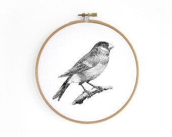 Finch Hoop art // embroidery hoop, vintage graphic, wall decoration art by renna deluxe