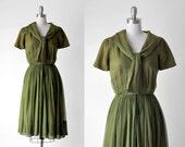 50 dark green dress. 50's chiffon dress. olive. sailor collar. pleated skirt. 1950's full dress. small.