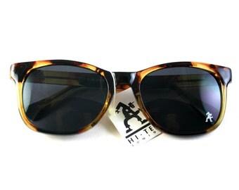 NOS 1980s vintage large rectangular retro sunglasses for men Wayfarer style toroise frame black lens Hi Tek Junior