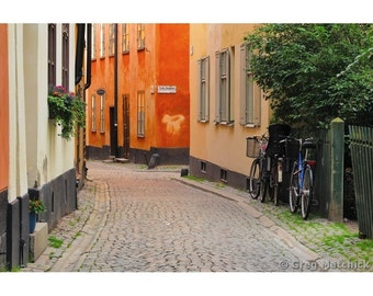 Fine Art Color Photography of Quiet Lane and Bicycles in Gamla Stan Stockholm Sweden