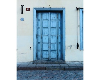 Fine Art Color Photography of a Blue Door in Tallinn Estonia