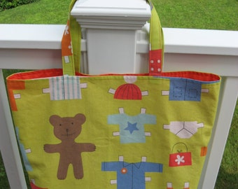 Twin Teddy Bear Paper Doll Tote Bags