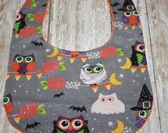 Baby Bib, Halloween Owl Baby Bib- Baby Boy bib or Baby Girl Bib, Halloween Baby bib, Minky Baby Bib, Owl Baby Bib