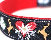Mirrored Deer Dog Collar, Heart Ribbon Pet Collar, Adjustable, Black Red Collar, Fall Dog Collar