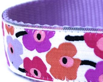 Poppy Flower Dog Collar, 1 inch width, Big Dog Collar, Pink Dog Collar, Girl Pet Collar