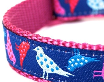 Polka Dot Birds Dog Collar, European Ribbon Pet Collar, Purple Pink