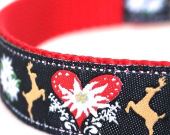 Mirrored Deer Dog Collar, Heart Ribbon Pet Collar, Adjustable, Black Red Collar, Fall Dog Collar