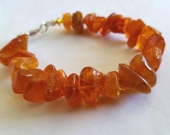 Natural Honey Baltic Amber Nugget bracelet