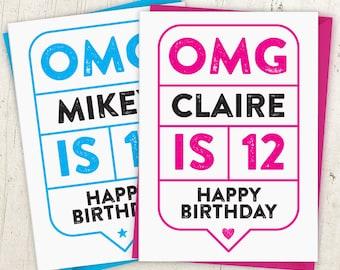 OMG 12th Birthday Speech Bubble Card