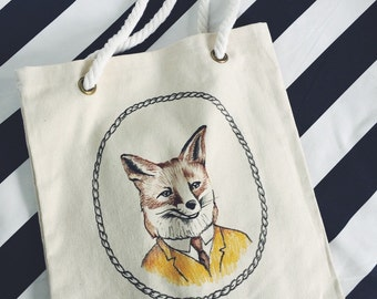 Mister Fox canvas tote bag