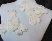 Cute embroidered     flower  applique ivory  color 2 piece listing