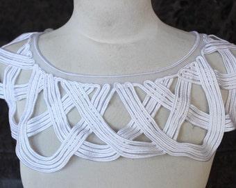 Cute  embroidered   applique white  color