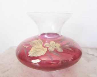 Cranberry glass vase ~ Fleetwood vintage glass ~ hand painted gold gilded glass ~ pink and gold glass ~ vintage cranberry glass ~ art glass