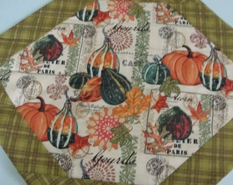 Fall Autumn Gourds & Pumpkins Quilted Placemats - Set of 4 Quiltsy Handmade
