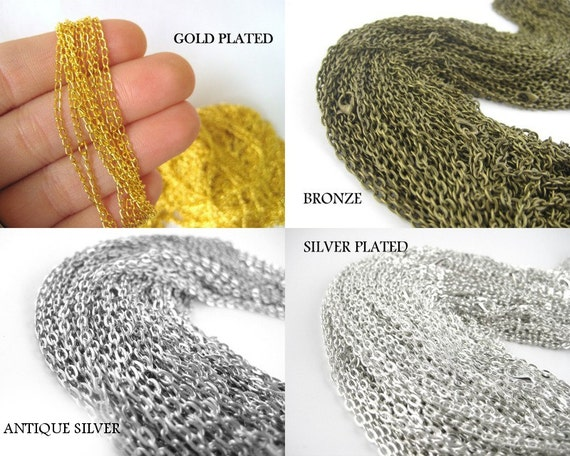 12pcs 18inch bronze or silver necklace chains silver chains like this item mozeypictures Choice Image
