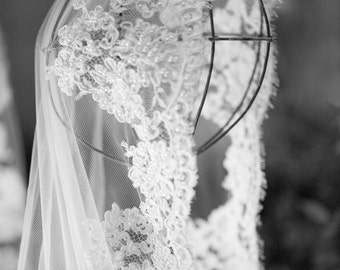 Wedding Veil - Hip Length Mantilla with Vintage French Alencon Lace and  Vintge Faux Pearls, Design at Crown