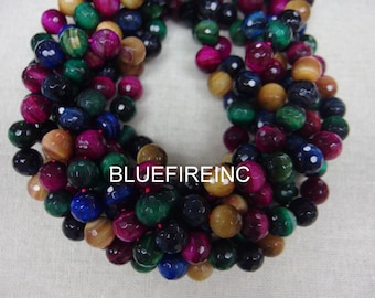 32 pcs Round Faceted Multi Color Tiger Eye Beads