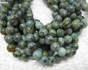 48 pcs 8mm round smooth African turquoise beads
