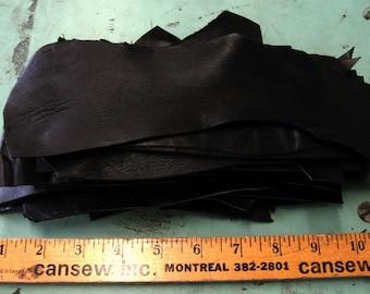 Genuine Cowhide Leather Scraps in Black LSA10