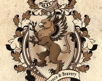 Gryphon Coat Of Arms Heraldry Art Print