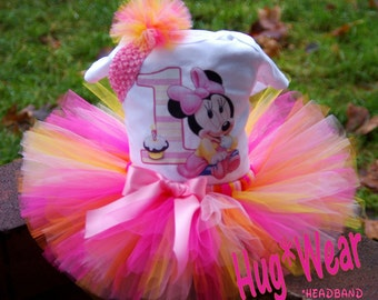Baby Minnie Mouse Birthday Shirt + Tutu Outfit  (any age)