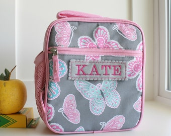 Lunch Bag With Monogram Classic Style Pottery Barn -- Pink/Gray Butterfly